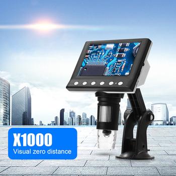 4 3 Cal wyświetlacz VGA mikroskop cyfrowy z 8 lupa z lampą LED przyrządy optyczne dla zwierząt kamizelka obserwacji dostaw tanie i dobre opinie alloet CN (pochodzenie) 500X i Pod Microscope Z tworzywa sztucznego Monokularowy