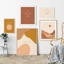 Quente tom abstrato cartaz impressão minimalista boho galeria pintura em tela na linha de parede imagem da arte para sala estar decoração casa