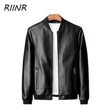 RIINR New Leather Jacket Spring Autumn Men Jacket Middle-aged Dad Baseball Uniform Trend Leather Casual Men Solid Color Jacket
