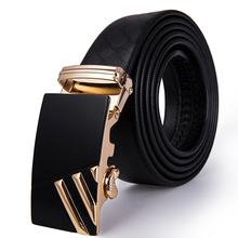 Hi-Tie Belt Brand Gold Buckle Genuine Leather Men for Jeans Luxury Business Troubles Black High Quality