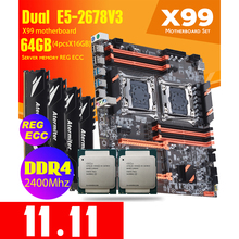 Atermiter DDR4 PC4 Dual X99 Moederbord Met 2011-3 Xeon E5 2678 V3 * 2 Met 4Pcs X 16Gb = 64Gb DDR4 2400Mhz Geheugen Combo Kit