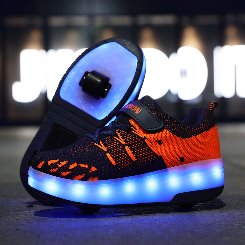Children Two Wheels Luminous Glowing Sneakers Black Blue Led Light Roller Skate Shoes Kids Led Shoes Boys Girls USB Charging