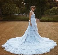 Vintage Light Blue Wedding Dresses With Straps Sweetheart Tieres Tulle Skirt Non White Luxury Bridal Gowns Couture Custom Made