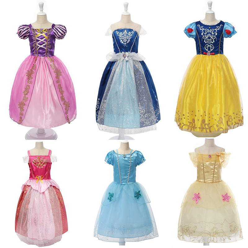 Rapunzel Dress Cinderella Snow White Dresses Girls Summer Princess Cosplay Costume Children Sleeping Beauty Belle Birthday Dress