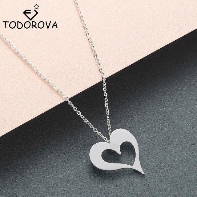 Todorova longue chaîne amour coeur colliers pour femmes filles bijoux acier inoxydable gardien ange collier Collane Donna bijoux