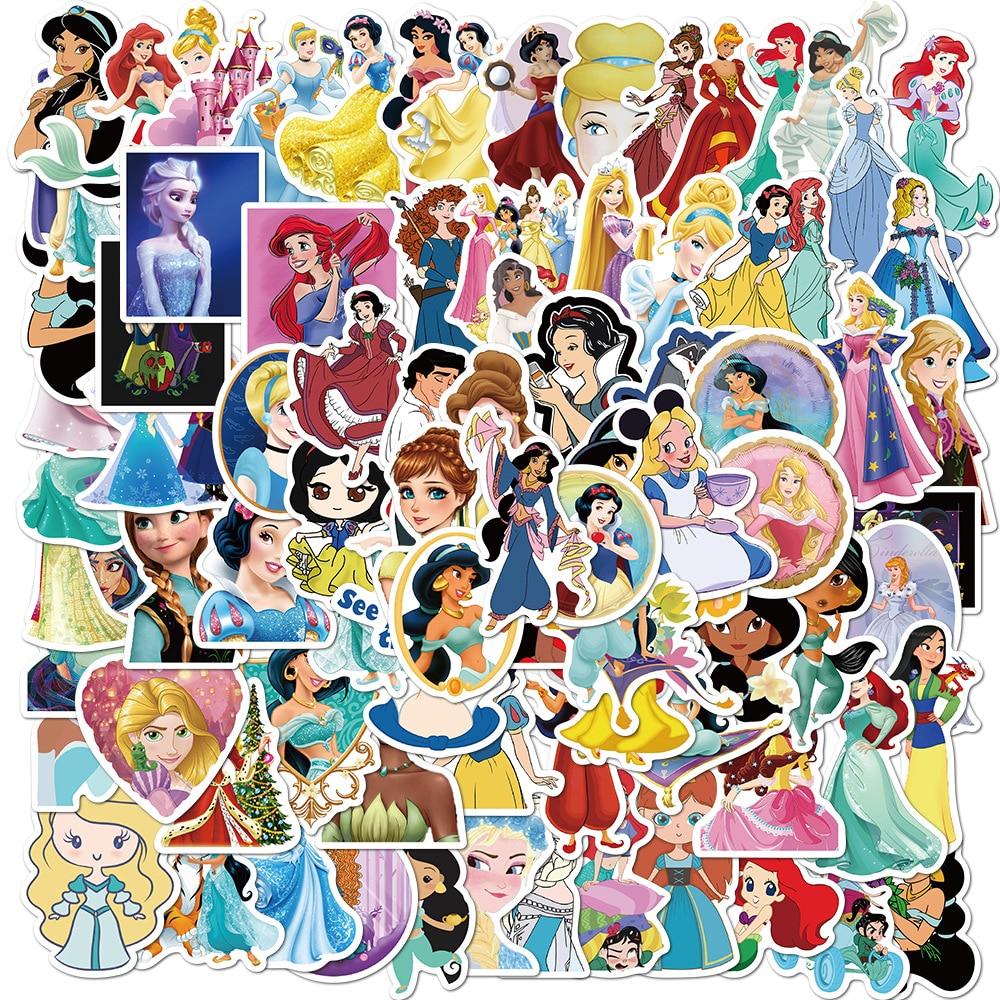 Pegatinas de Princesas de Disney, 100 Uds. De PVC que no se repiten las pegatinas, caja de barras para tirar de coches y motocicletas, pegatinas de grafiti a prueba de agua