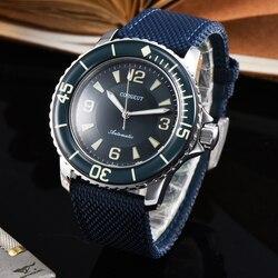 Corgeut 45mm zegarek męski zegarek sportowy luksusowa tarcza marki mechaniczne świecące wodoodporne ręce automatyczne self-wiatr Vintage mens