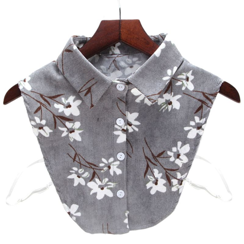 Floral Printed Half-shirt Soft Corduroy Stand Fake Collar Necklace Choker Button