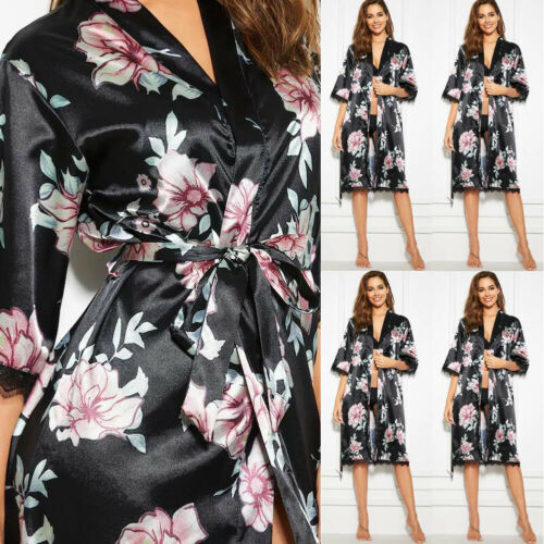 New Women V-neck Satin Silk Lace Flora Robes Lingerie Pajama Nightwear  Nightgown Sleepwear Robes