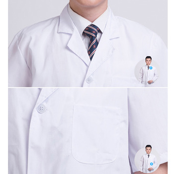 Summer Unisex White Lab Coat Short Sleeve Pockets Uniform Work Wear Doctor Nurse Clothing SEC88