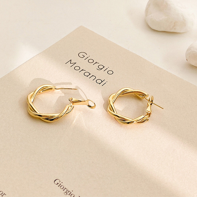 LATS Fashion Distortion Interweave Twist Metal Circle Geometric Round Hoop Earrings for Women Accessories Retro Party Jewelry 3