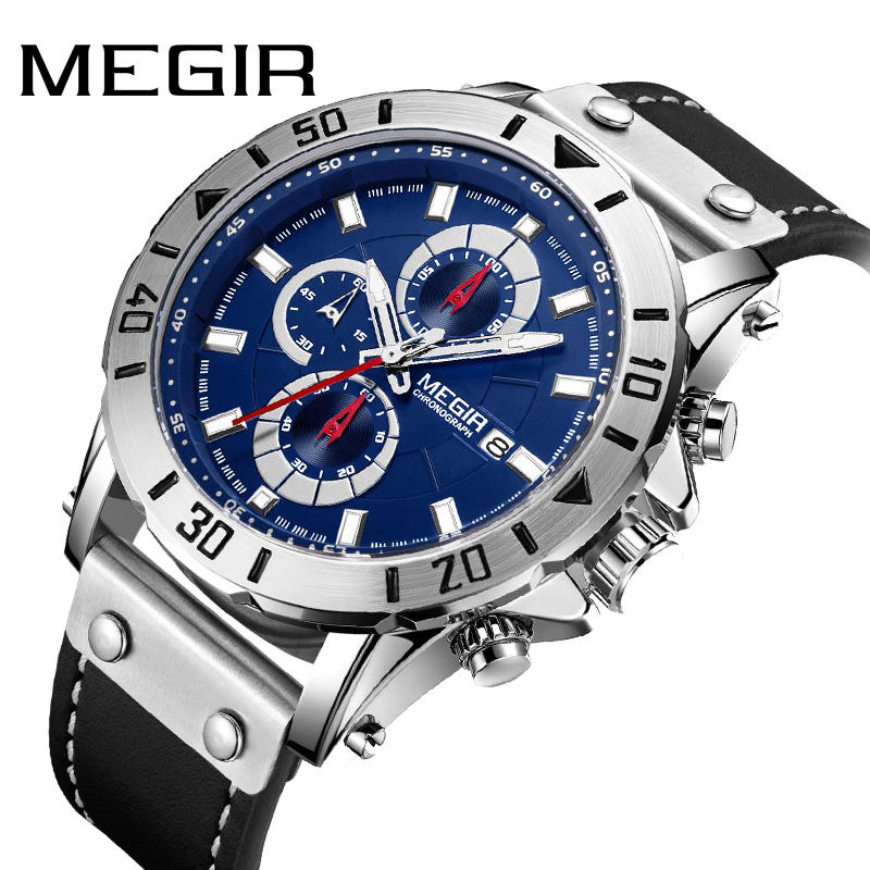 <font><b>MEGIR</b></font> Clock Chronograph Leather Men Quartz Watches Casual Man Watch Waterproof Luminous Militar Male Sports relojes <font><b>2020</b></font> hombre image