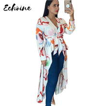 цена на Echoine Women Vintage Color Block V Neck Long Sleeve Irregular High Low Lace Up Blouse Shirt Tops with Sashes Autumn Outfits