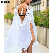 Riseado 2020 شرابة تونك فستان الشاطئ مثير غطاء Ups عارية الذراعين ملابس الشاطئ المايوه النساء ملابس السباحة البيضاء لباس سباحة