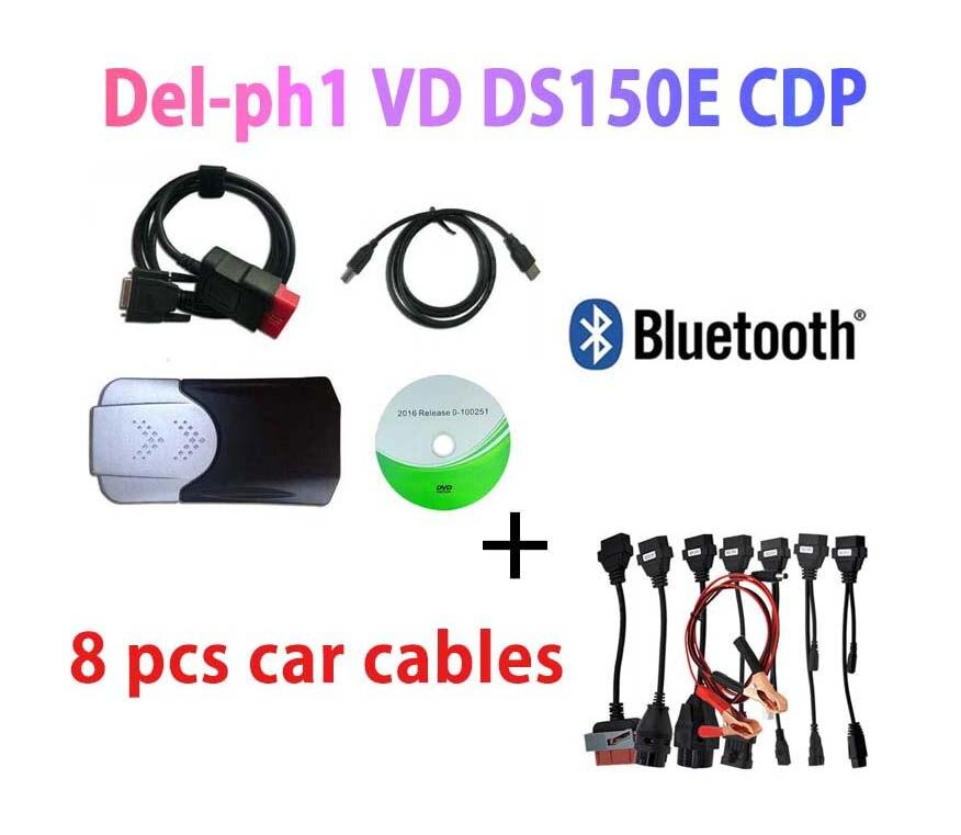 2020 Новое поступление OBD2 сканер VD DS150E CDP Bluetooth 2016 keygen для delphis MultiDiag автомобильные аксессуары диагностический + 8 автомобильных кабелей