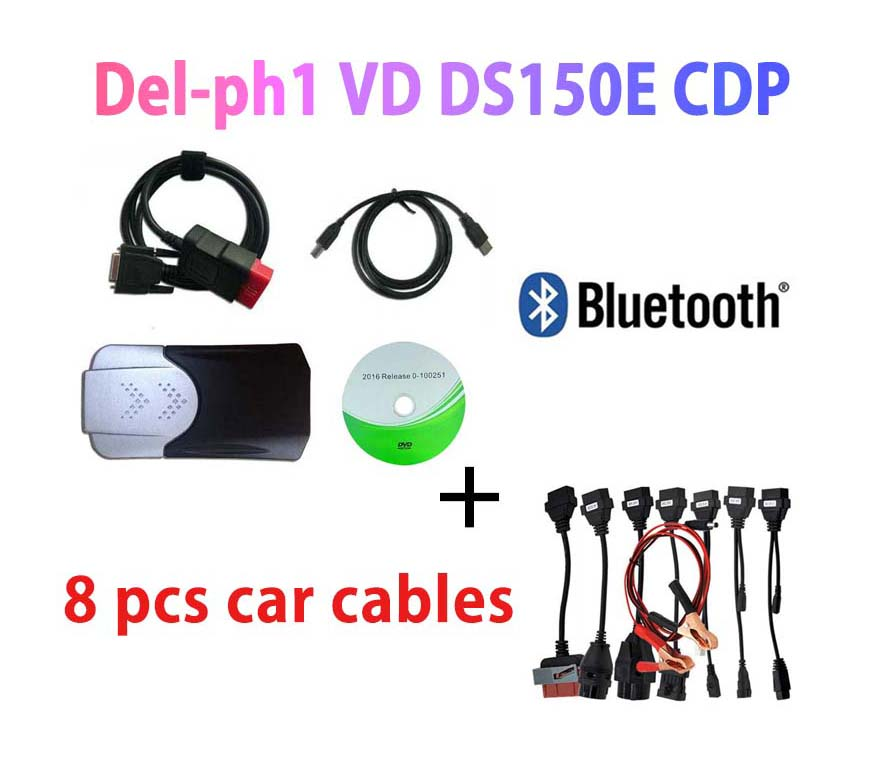 2020 NEW Arrival OBD2 SCANNER <font><b>VD</b></font> <font><b>DS150E</b></font> CDP Bluetooth 2016 keygen for delphis MultiDiag Car accessories Diagnostic +8 car cables image