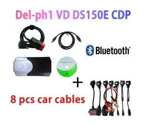 Image 2 - Escáner OBD2 VD DS150E, Bluetooth 2021, keygen para delphis MultiDiag, accesorios de diagnóstico + 8 cables de coche, novedad de 2017