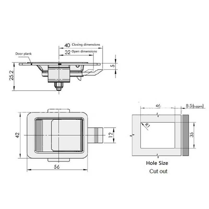 สแตนเลสสตีลโคมไฟติดตั้ง LATCH MINI Flush Mount Paddle Handle ล็อคสำหรับ RV/Camper/Trailer/ตู้/ กล่องเครื่องมือฯลฯ