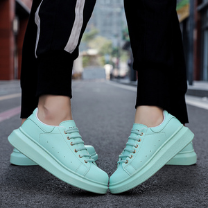 Image 3 - Shoes Man's Scarpe Donna Spring Autumn Genuine Leather Flat Couple Casual Shoes Tenis Feminino White Sneakers Women Basket Femme