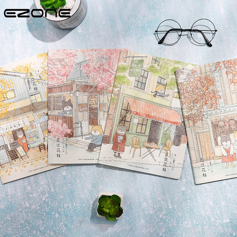 EZONE A5 Japanese Style Notebook Spring/Summer/Autumn/Winter Series Notebook Ivory White Eyecare Paper Students Stationery