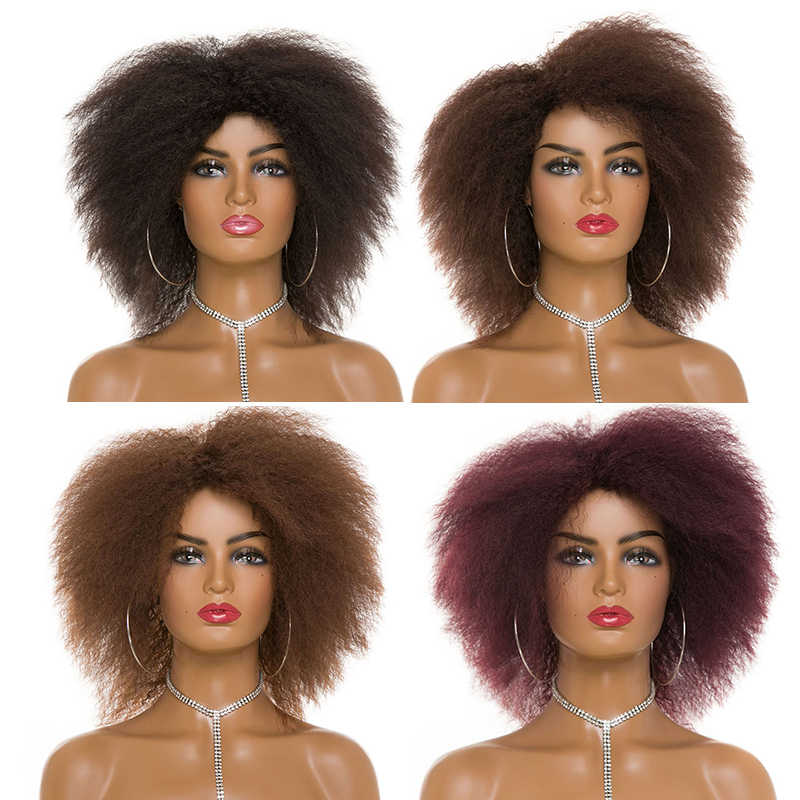 Afro Yaki Straight Natural Black Hair For African American Women Short Wig Synthetic Cosplay Hair