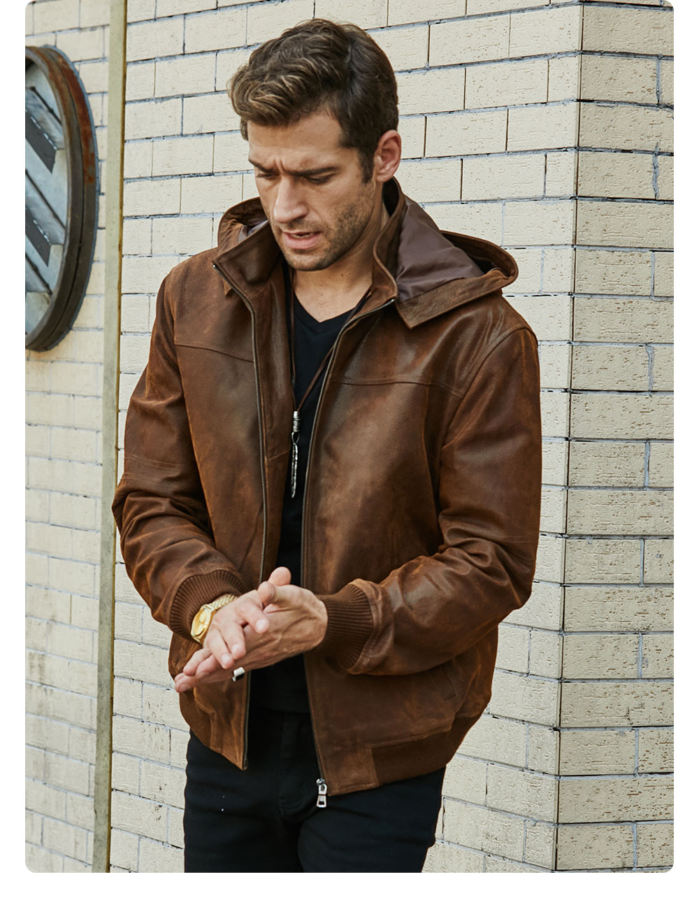 H5cfb2dc3a0cd4005ac86a759dcc740d9d New Men's Winter Jacket Made Of Genuine Pigskin Leather With A Hood, Pigskin Motorcycle Jacket, Natural Leather Jacket
