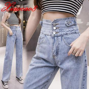 Light Blue High Waist Jeans Woman Wide Leg Denim Pants Summer Spring  Cotton Thin Jeans Women Straight Trouders Clothing full cotton 2019 wide leg women pants high waist loose straight lady jeans with pockets zippers and ripped design spring summer