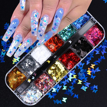 12 Grid Set Holographic Nail Glitter Sequins Sparkly 3D Thin Butterfly Flakes Polish Decor for Nail Art Accessories LA1558-1 cheap Full Beauty Metal Rhinestone Decoration 12Grids Set 12 Styles Gold 12 Styles Butterfly Shape Nail Flakes 3d Nail Art Sequins