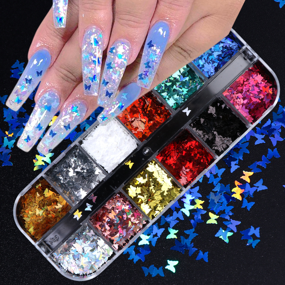 12 Grid/Set Holographic Nail Glitter Sequins Sparkly 3D Thin Butterfly Flakes Polish Decor For Nail Art Accessories LA1558-1