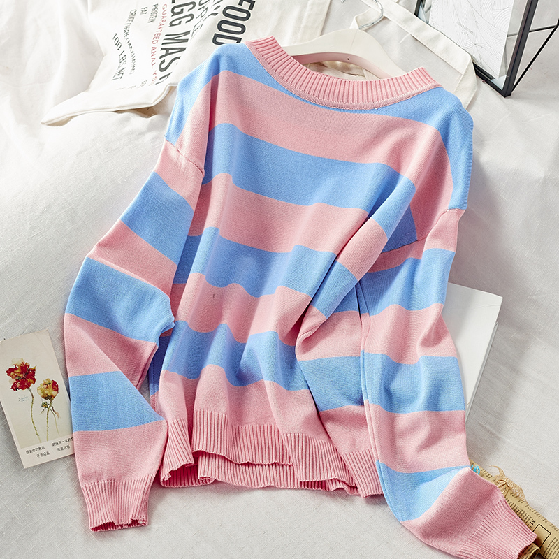 Casual Pink Blue Striped Printed Sweater Women Autumn 2020 Long Sleeve Loose Pullover Winter Knitted Ladies Jumper White