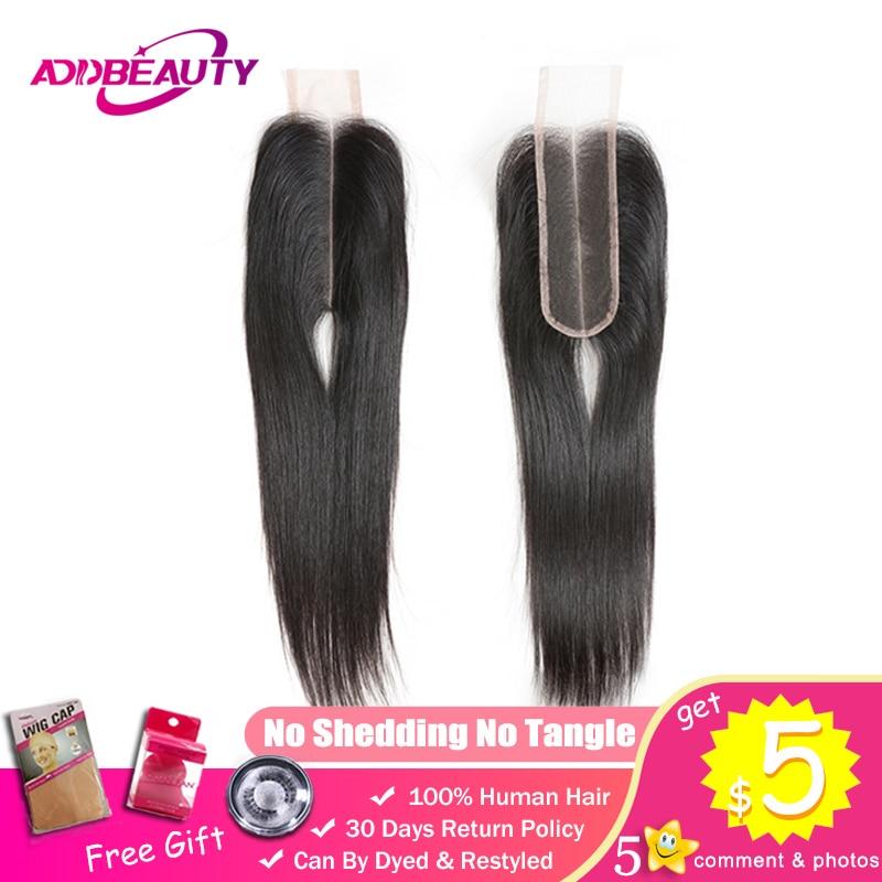 Addbeauty 2x6 Lace Closure Kim K Brazilian Straight Unprocessed Virgin Human Baby Hair Natural Color Deep Middle Part 130%