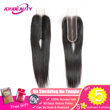 Addbeauty 2x6 Lace Closure Kim k Brazilian Straight Unprocessed Virgin Human Baby Hair Natural Color Deep Middle Part 130%(China)