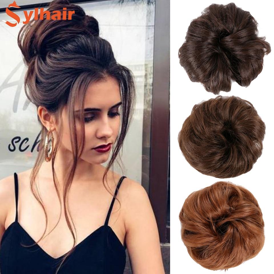 Sylhair Short Curly Messy Hair Bow Hair Chignons Synthetic Elastic Hair Rope Natural Fake Hair Bun Clip In Hair Extensions