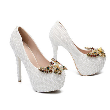 Autumn Woman Pumps Shoes Platform Butterfly-knot White Sexy Stiletto High Heels 14CM Female Shoes Work Pumps Dress Shoes Women