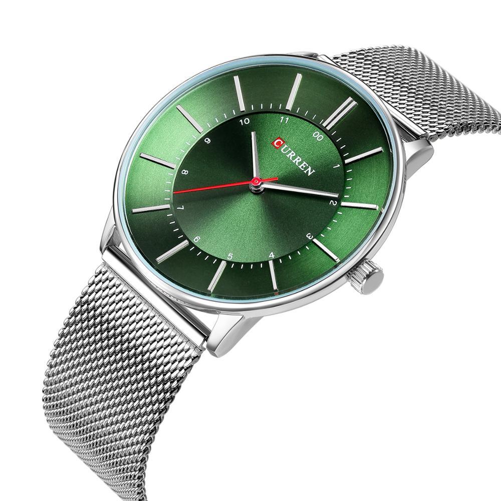 CURREN Newest Design Silver Stainless Steel Military Watch Fashion Green Dial Smart Quartz Watch Waterproof Mesh Clock Man Watch