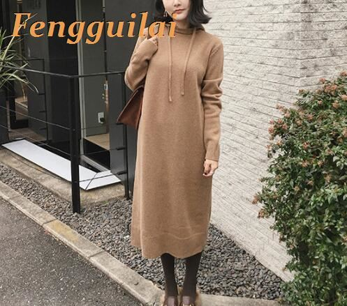 FENGGUILAI 2019 New Autumn Winter Knitted Sweater Womens Pullovers Korean Lazy Wind Hooded Coat Outerwear