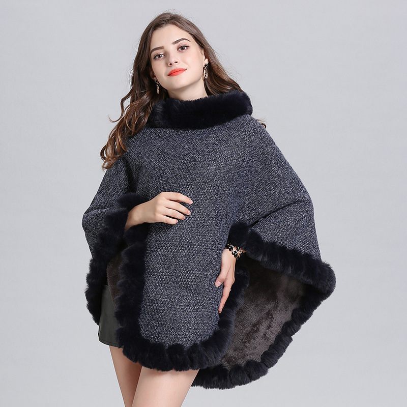 6 Color Plus Velvet Warm Pullover 2019 Winter Faux Fox Fur Out Street Wear Women Capes Solid Poncho Knitted O Neck Fur Sweater