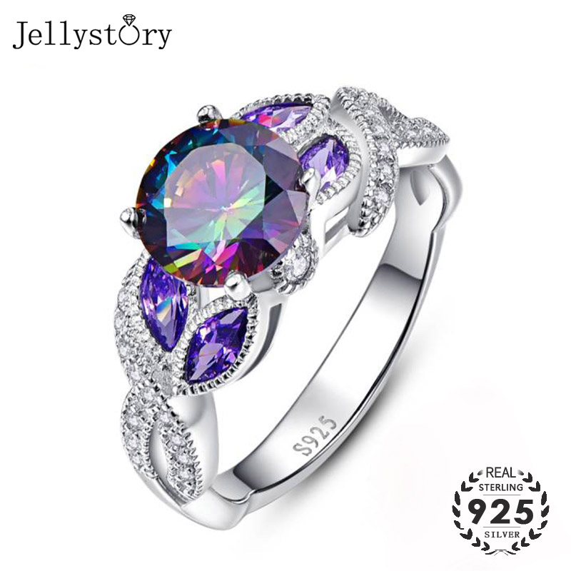 Jellystory Fashion Silver Ring 925 Jewelry with 8*8mm Round shaped Topaz Zircon Gemstones for Women ring Wedding Gifts wholesale