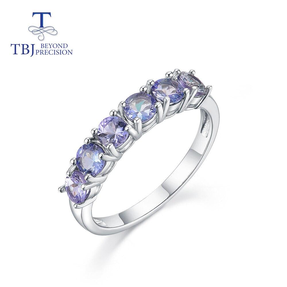 TBJ ,Round 4mm Natural light blue Tanznite Ring ,6 piece 2ct natural tanzania Tanzanite gemstone Jewelry 925 sterling silver