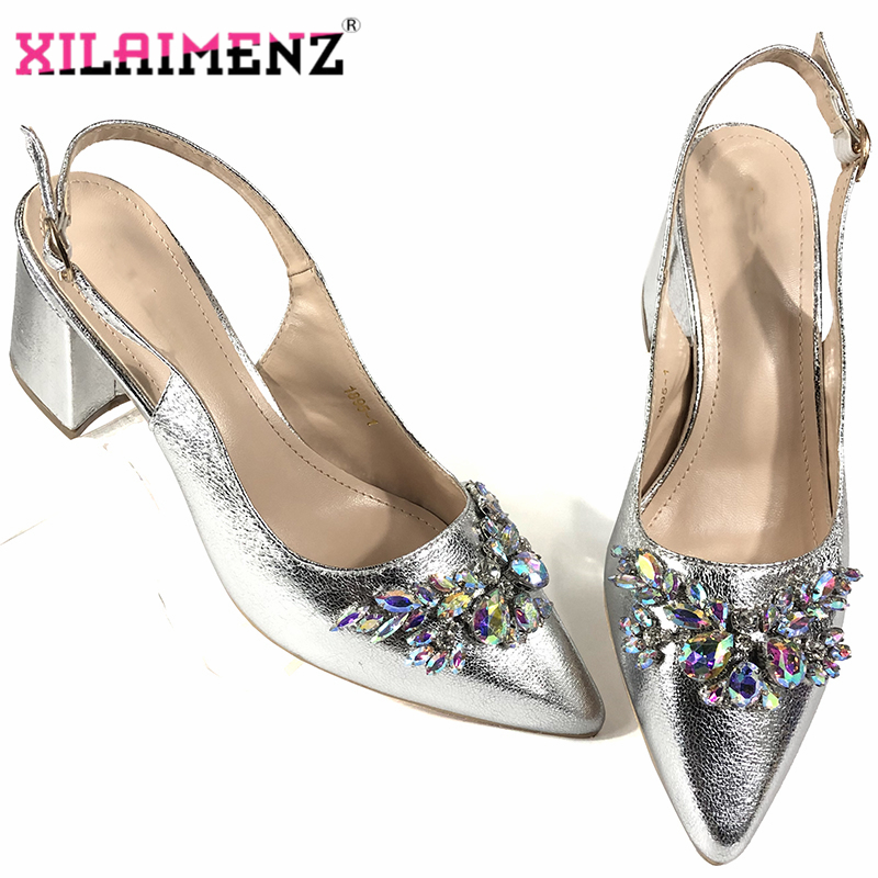 Silver color newest Nigerian shoes without matching bags PU leather comfortable pumps wholesales good price for sandals shoes image