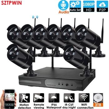 8CH 1080P HD Audio Kit NVR inalámbrico P2P 1080P interior al aire libre IR visión nocturna seguridad 2.0MP Audio IP Cámara WIFI CCTV sistema