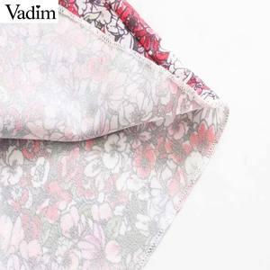 Image 5 - Vadim 女性ファッション花柄ミニドレスノースリーブ弾性ウエスト a ラインの女性のカジュアルフリルドレス vestidos mujer QD163