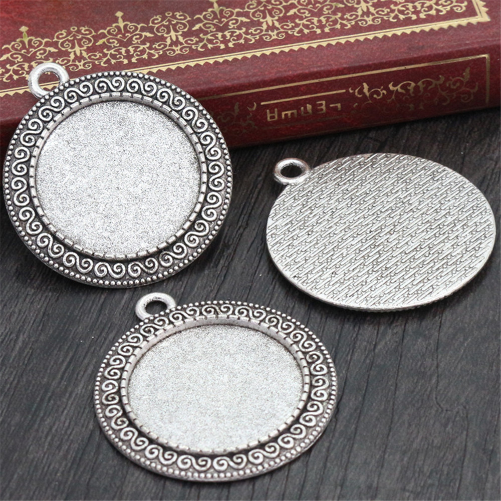 New Fashion  3pcs 25mm Inner Size Antique Silver Plated Simple Style Cabochon Base Setting Charms Pendant (A3-52)