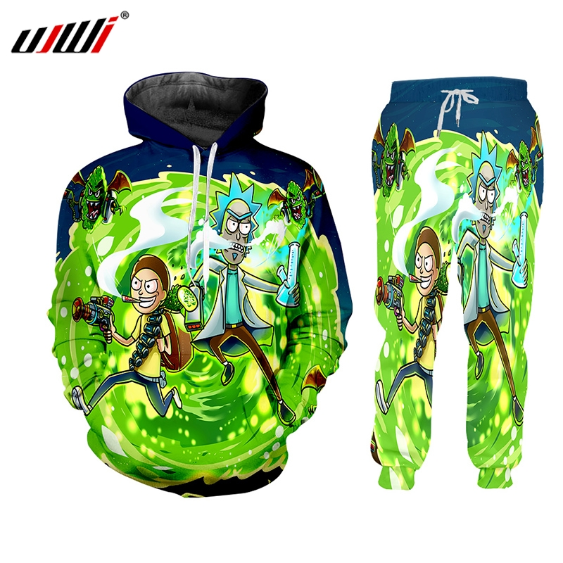 UJWI Brand  2 Pieces Sets Tracksuit Men New Autumn Winter Hooded Sweatshirt +Drawstring Pants Male Rick And Morty