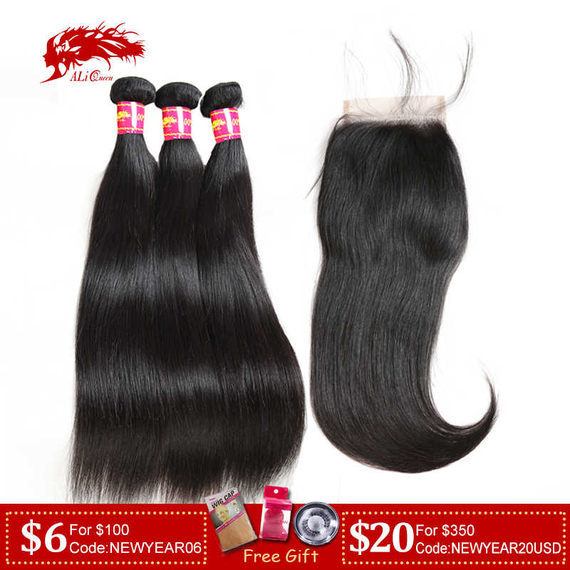 Ali Queen Hair 3/4pcs Brazilian Straight Remy Human Hair Bundles With Closure 4x4/5x5/6x6 HD Transparent Lace Closure