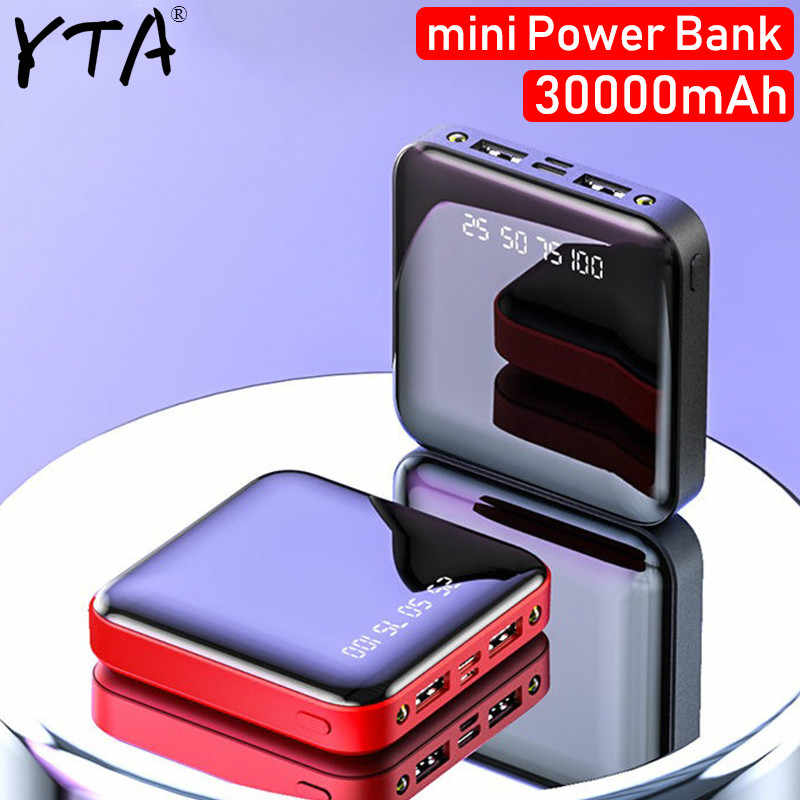 Mini Powerbank 30000mAh dla iPhone X Xiao mi mi Powerbank Powerbank ładowarka dwa porty usb zewnętrzna ładowarka do baterii przenośna