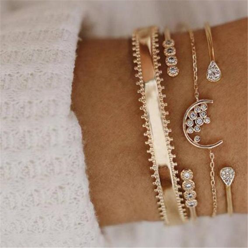 4 PCS  Set New Popular Leaf Diamond Shape Pendant Women Creative Bracelet Gift