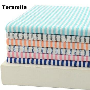 Teramila-Telas para retales cosidos de algodón a rayas, de diferentes colores, DIY,...