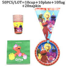 Sesame Street Theme Disposable Tableware Sets For Kids Birthday Party Decor Baby Shower Plate Cup Napkin Banner Party Supplies gold dot disposable tableware set cup plate napkin banner baby 1st birthday party decor baby shower girl party supplies