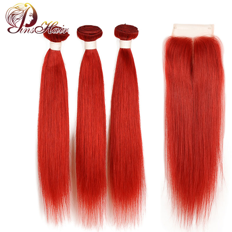 Peruvian Straight Hair Bundles With Closure Red Colored Pinshair Nonremy Human Hair Bundles With Closure Pre Plucked Hairline